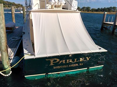 100% custom boat awning for a vessel sailing out of Cape Cod, MA.
