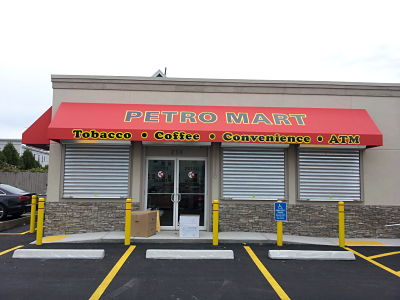 Commercial storefront awnings come in all shapes and sizes and we can custom make anything to fit you business's specific needs.