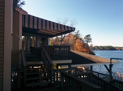 A stunning view from underneath this awning situated on Long Pond in Lakeville, MA.