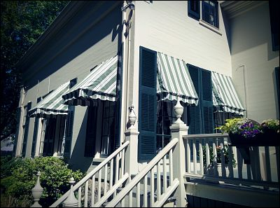 Antique style window awnings we custom made for this house Fairhaven, MA that was built in the 1800's.