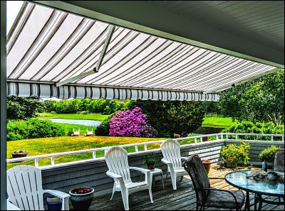 A beautiful view from underneath this beautiful retractable awning in Mattapoisett, MA.