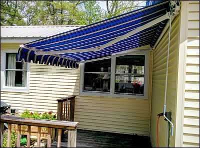 A small retractable awning in Acushnet, MA.