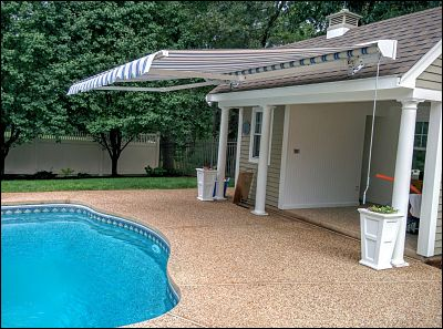 A cool application for a retractable awning covering a pool and poolhouse in Lakeville, MA.