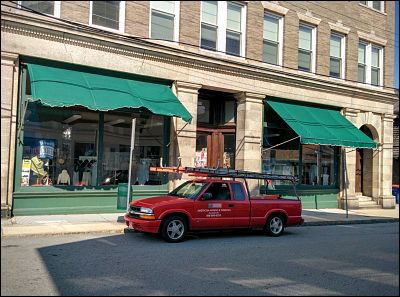 Vintage awnings for a vintage store.