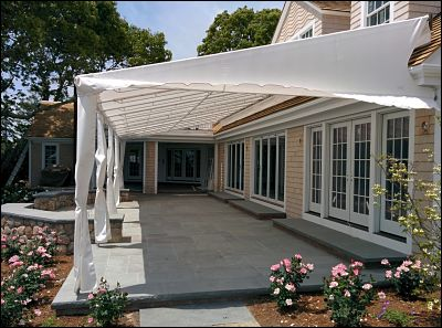 At 44 feet wide, this patio canopy is one of the largest we have ever built.