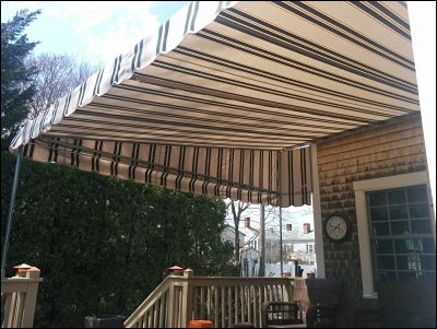 The underside of a recently installed patio canopy.