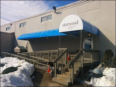 At over 20 feet long this entrance awning covers both the stairs and handicap ramp entrances to Starwood Hotels in Fall River MA.