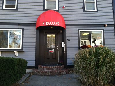 This red entrance awning really brightens up the storefront of Stracco's Italian Restaurant in Plymouth , MA.  Stop by and check it out when next time you are getting a sub!